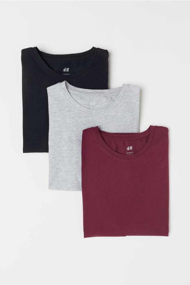 ... Pack de 3 camisetas Slim fit - Burdeos Negro - HOMBRE  661dfbcb320
