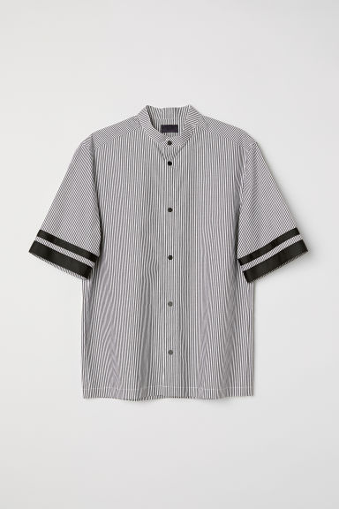 Short-sleeved shirt - White/Grey striped -  | H&M