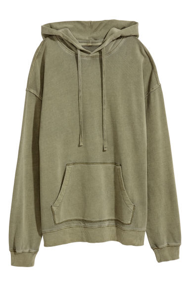 Washed hooded top - Khaki green -  | H&M IE