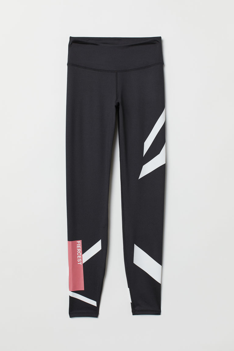 Sports tights - Black/Fiercest - Ladies | H&M CN