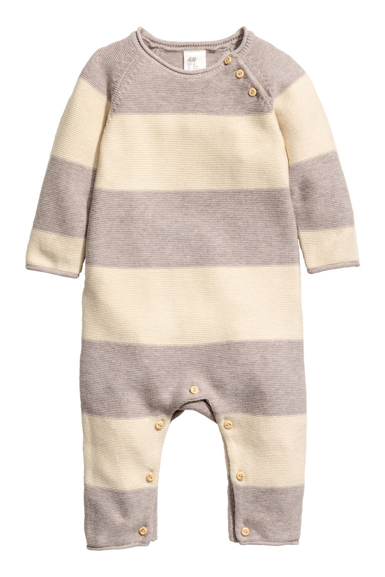 Knitted romper suit - Natural white/Light beige - Kids | H&M CN