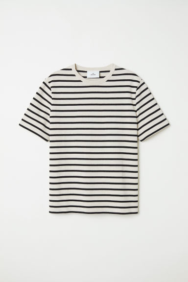 Striped cotton T-shirt - Light beige/Striped - Men | H&M