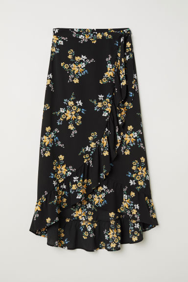 Wrapover maxi skirt - Black/Floral - Ladies | H&M GB