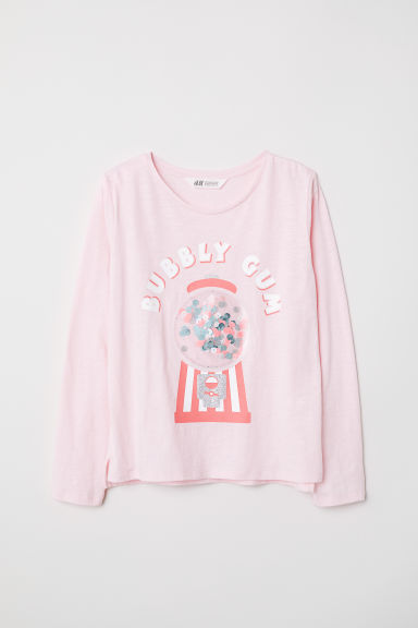 Top met applicatie - Lichtroze/Bubbly gum - KINDEREN | H&M BE