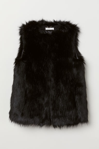 Faux fur gilet - Black - Ladies | H&M CN