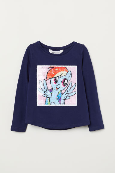 Top met omkeerbare pailletten - Donkerblauw/My Little Pony - KINDEREN | H&M BE