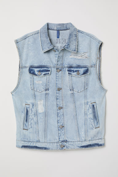 Gilet in jeans con stampa - Blu denim chiaro/Lover - UOMO | H&M IT