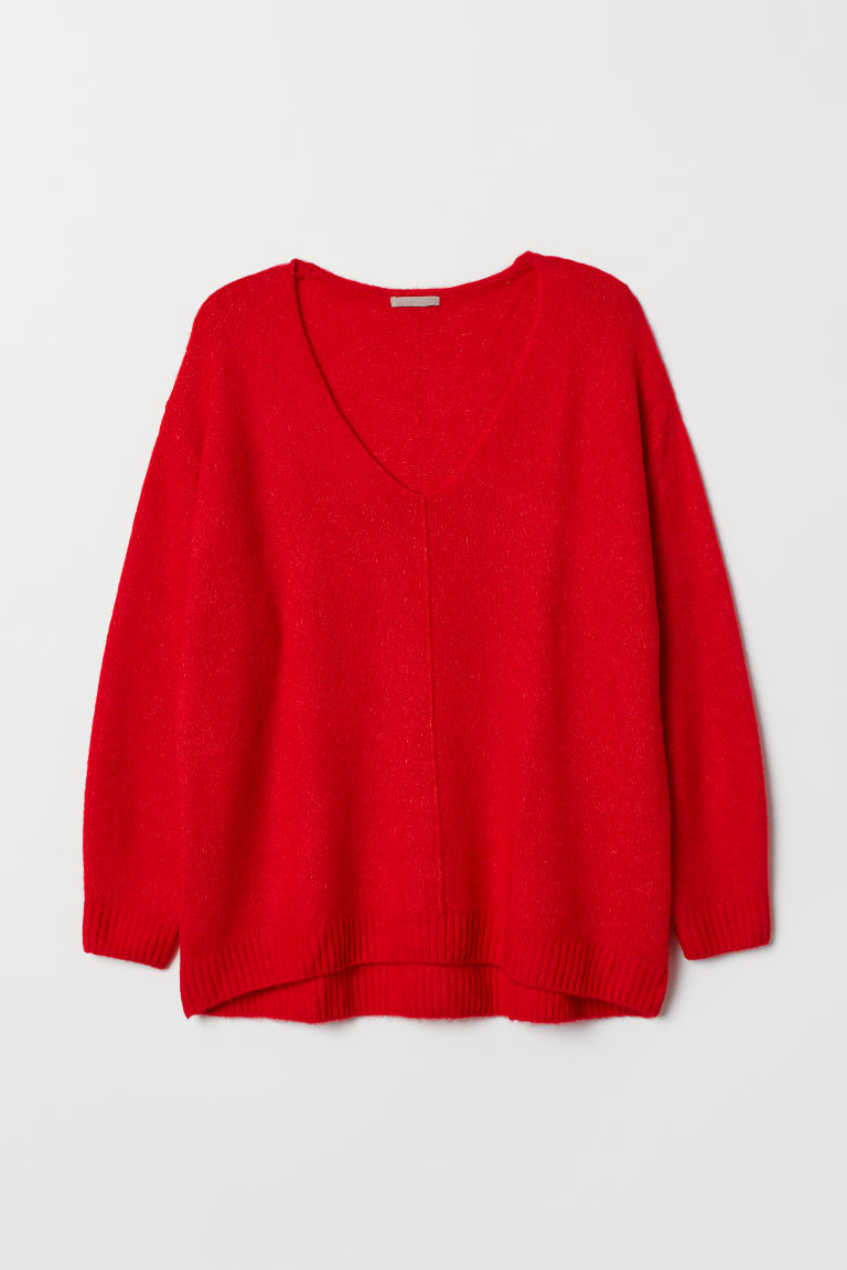 H&M+ V-neck jumper - Bright red - Ladies | H&M CN