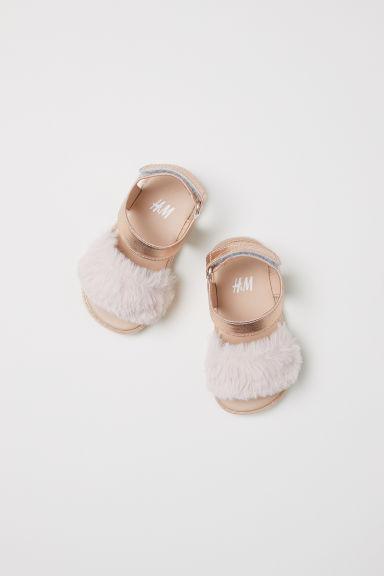 Sandals - Metallic pink/Faux fur -  | H&M CN
