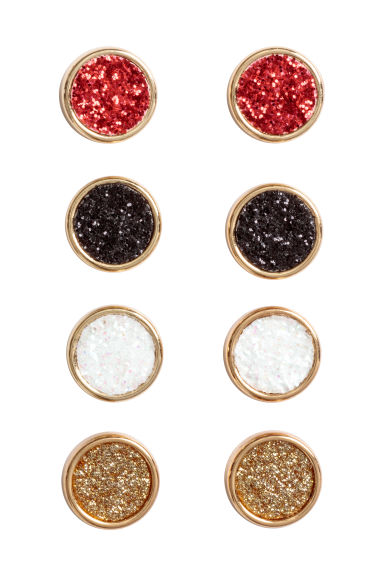 4 pairs round earrings - Red -  | H&M