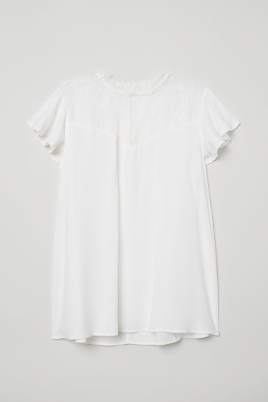 Blouse with a lace yoke - White - Ladies | H&M