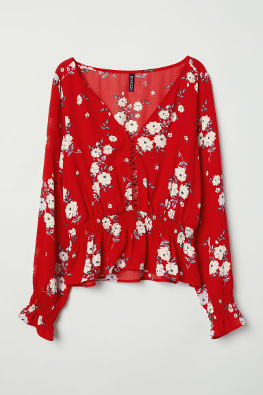 Patterned blouse - Red/Floral -  | H&M