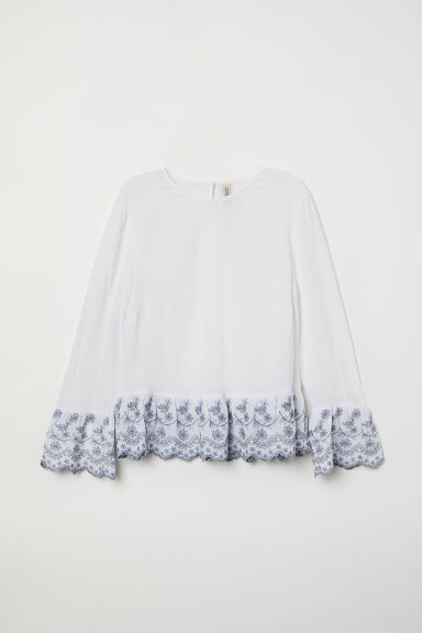 Flounce-sleeved blouse - White -  | H&M