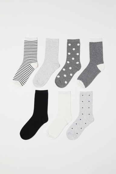 7-pack socks - Light grey/Patterned - Ladies | H&M CN