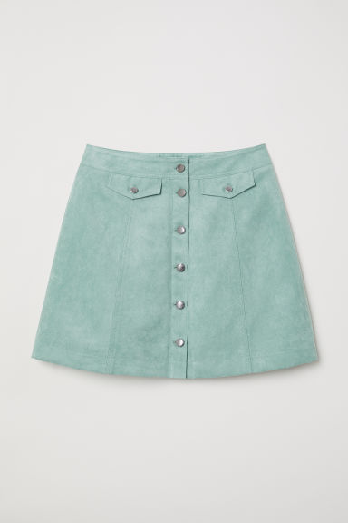 Short skirt - Mint green/Imitation suede -  | H&M