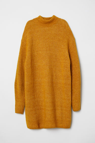 Knitted wool-blend jumper - Mustard yellow - Ladies | H&M