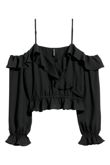 Cold shoulder blouse - Black -  | H&M CN