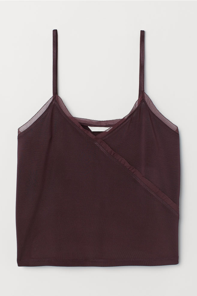 V-neck Camisole Top - Plum - Ladies | H&M US 5