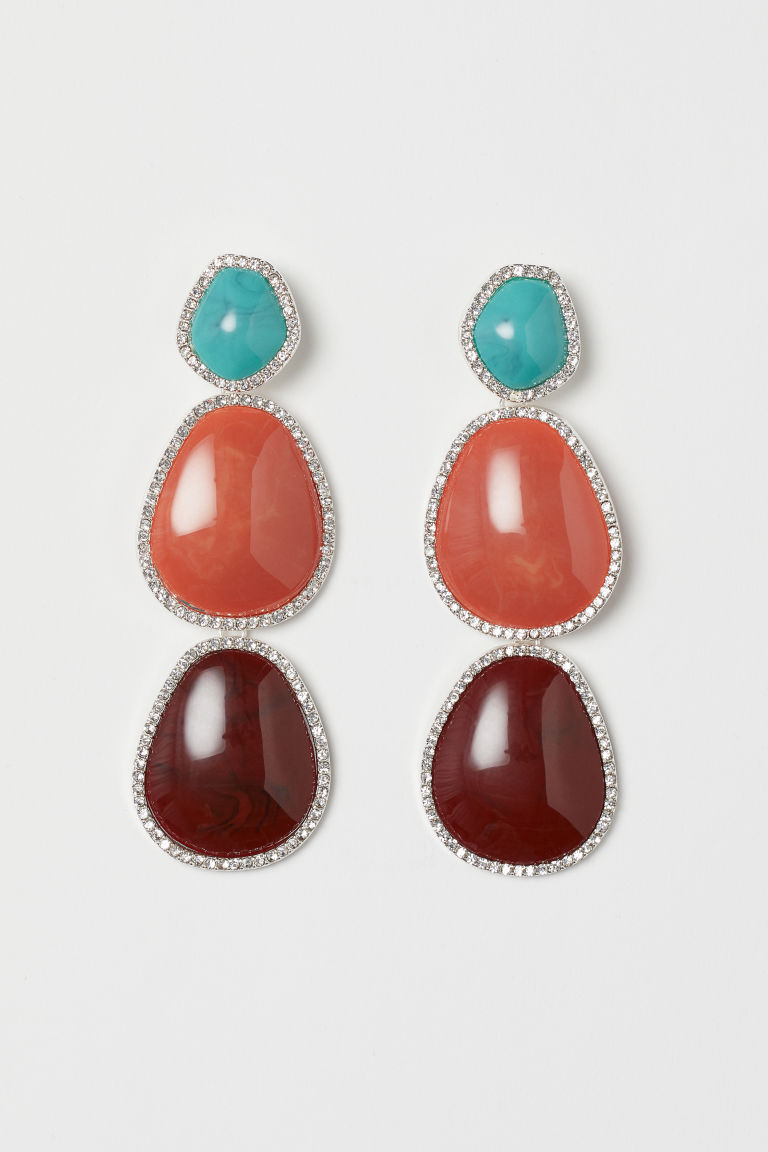 Long earrings - Silver-coloured/Turquoise - Ladies | H&M