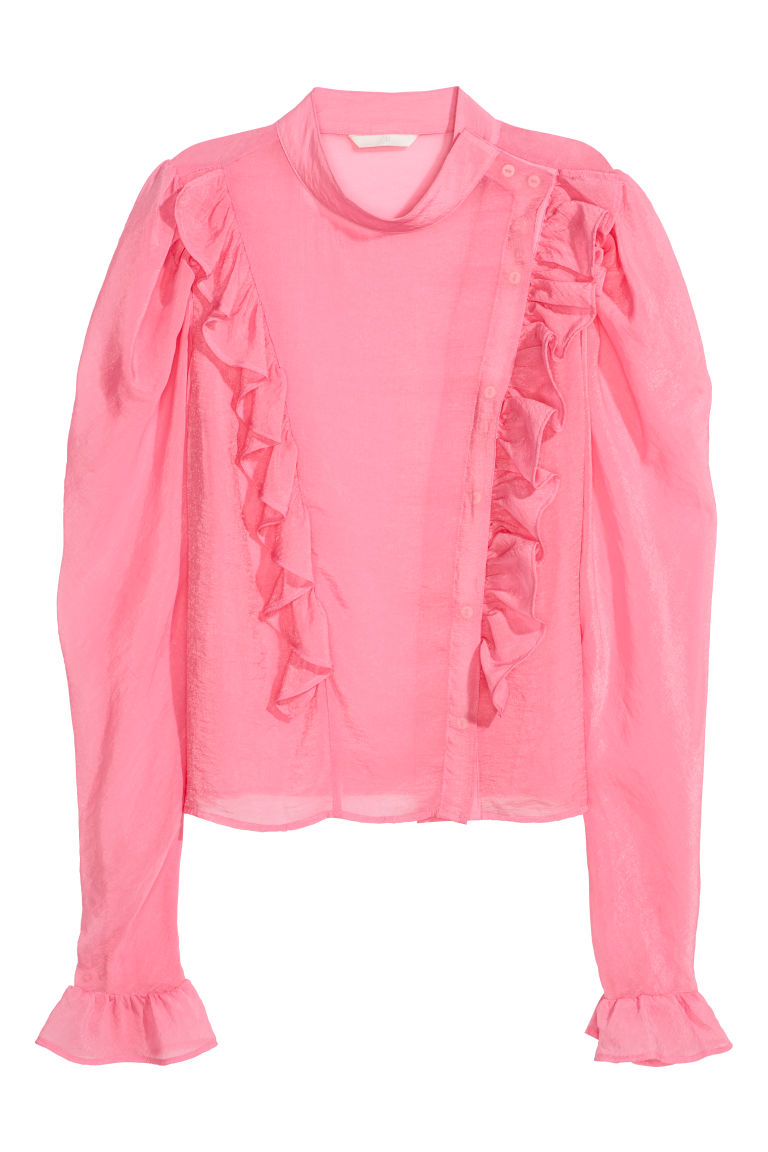 Puff-sleeved frilled blouse - Pink - Ladies | H&M