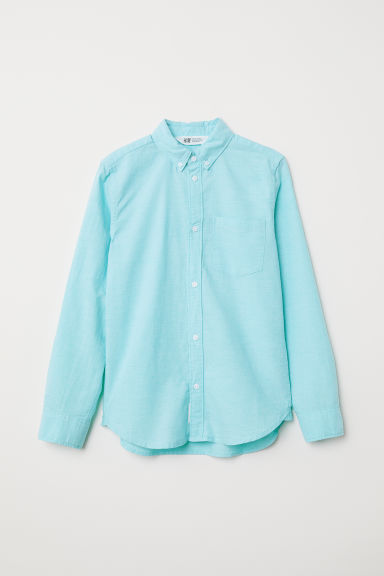 Long-sleeved cotton shirt - Light turquoise - Kids | H&M CN