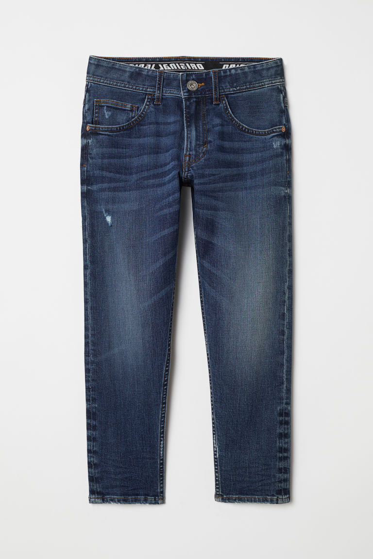 Relaxed Tapered Fit Jeans - Dark blue denim - Kids | H&M CN