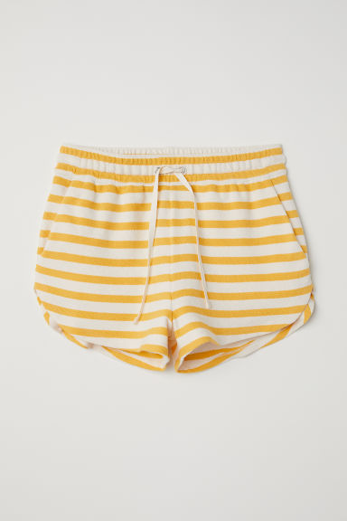 Shorts in felpa - Bianco naturale/giallo righe - DONNA | H&M IT