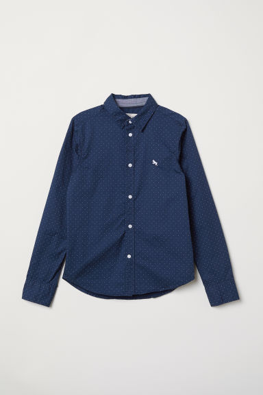 Cotton shirt - Dark blue/White spotted - Kids | H&M