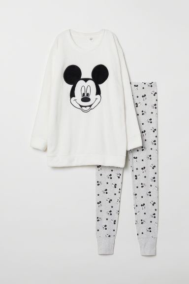 Pyjama top and leggings - White/Mickey Mouse - Ladies | H&M