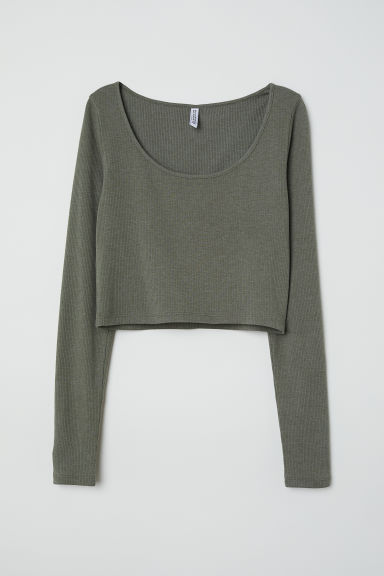 Ribbed top - Khaki green marl -  | H&M