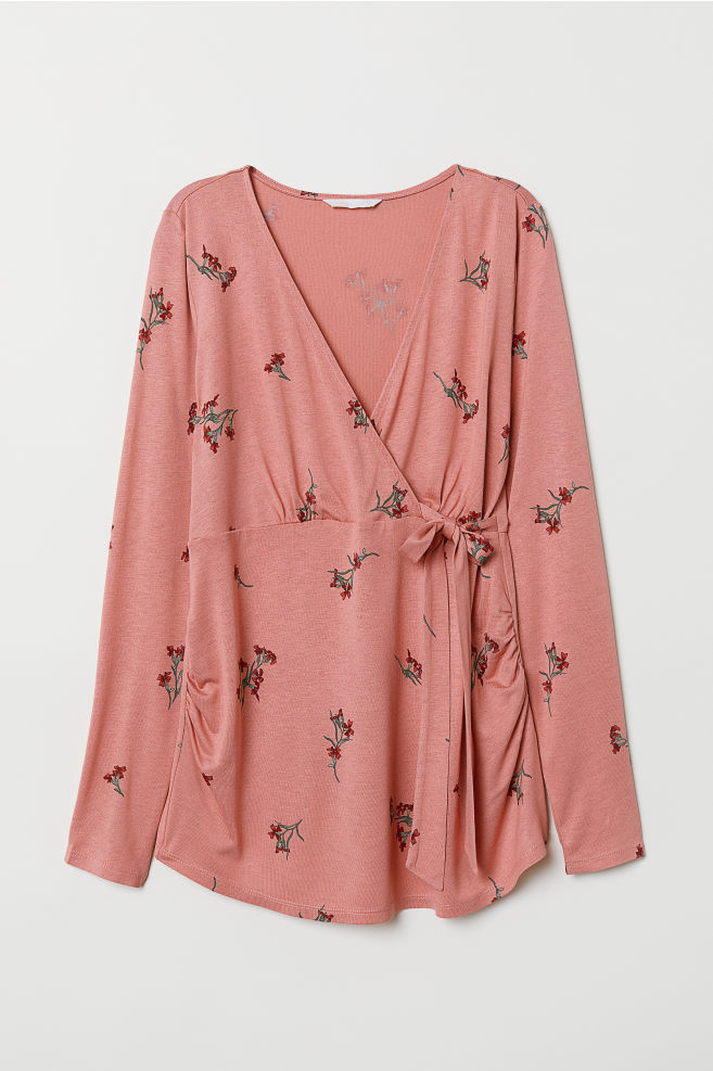0b933ba6b5a618 MAMA Wrapover Top - Pink/floral - Ladies | H&M ...