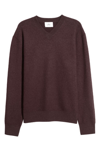V-neck boiled wool jumper - Burgundy -  | H&M