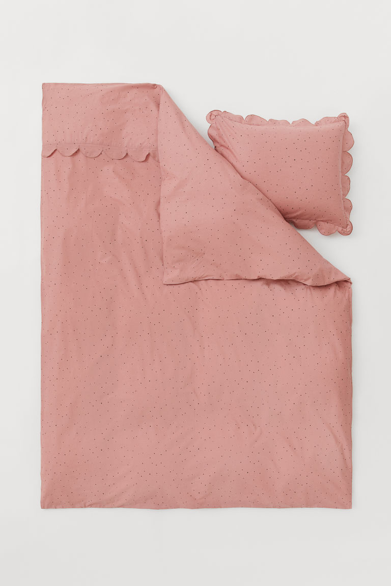 Scallop-edged duvet cover set - Old rose/Spotted - Home All | H&M CN