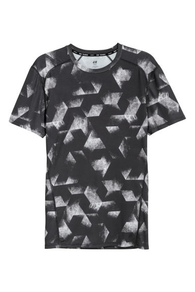 Short-sleeved sports top - Dark grey/Patterned - Men | H&M