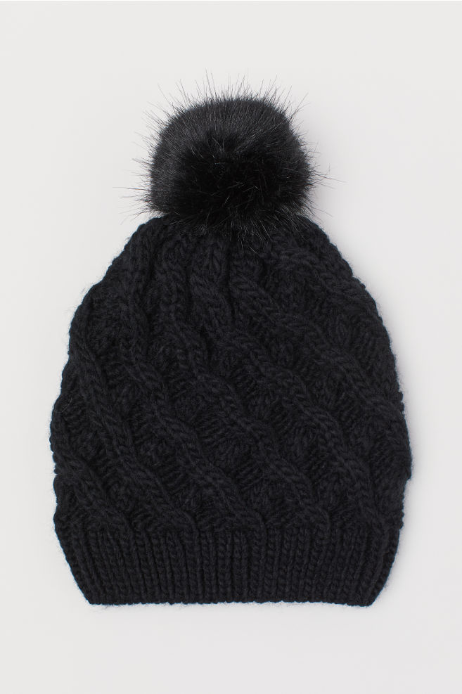 03a126d0158 Hat with Pompom - Black - Ladies