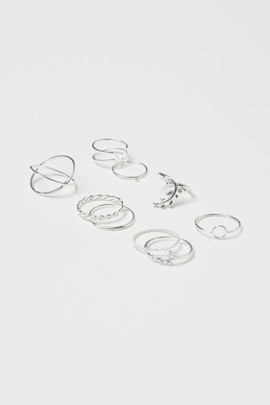 9-pack rings - Silver-coloured - Ladies | H&M CN