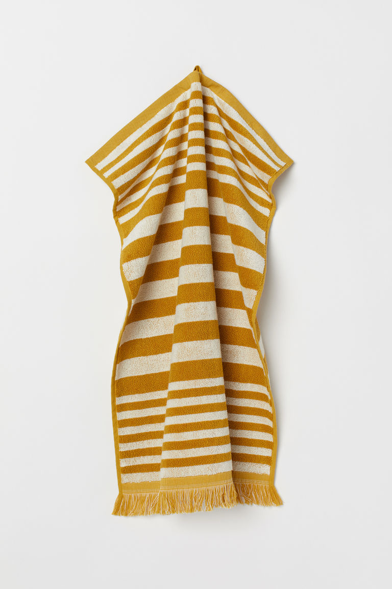 Striped hand towel - Yellow/White striped - Home All | H&M GB