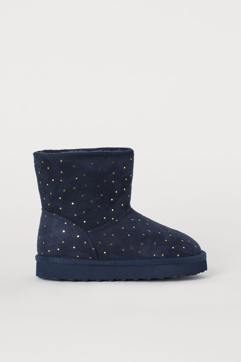 Faux fur-lined boots - Dark blue/Gold-coloured spots - Kids | H&M IN