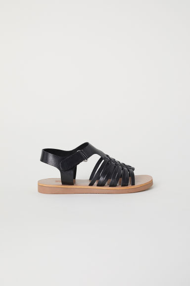 Leather sandals - Black -  | H&M CN