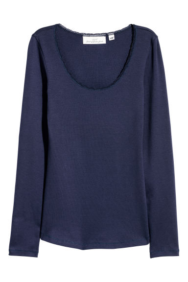 Lace-trimmed jersey top - Dark blue - Ladies | H&M IE