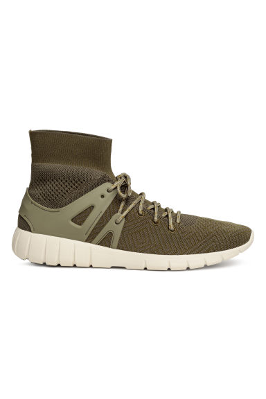 Fully-fashioned hi-tops - Khaki green - Men | H&M