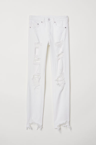 Skinny High Ankle Jeans - 白色牛仔布/破洞 -  | H&M CN