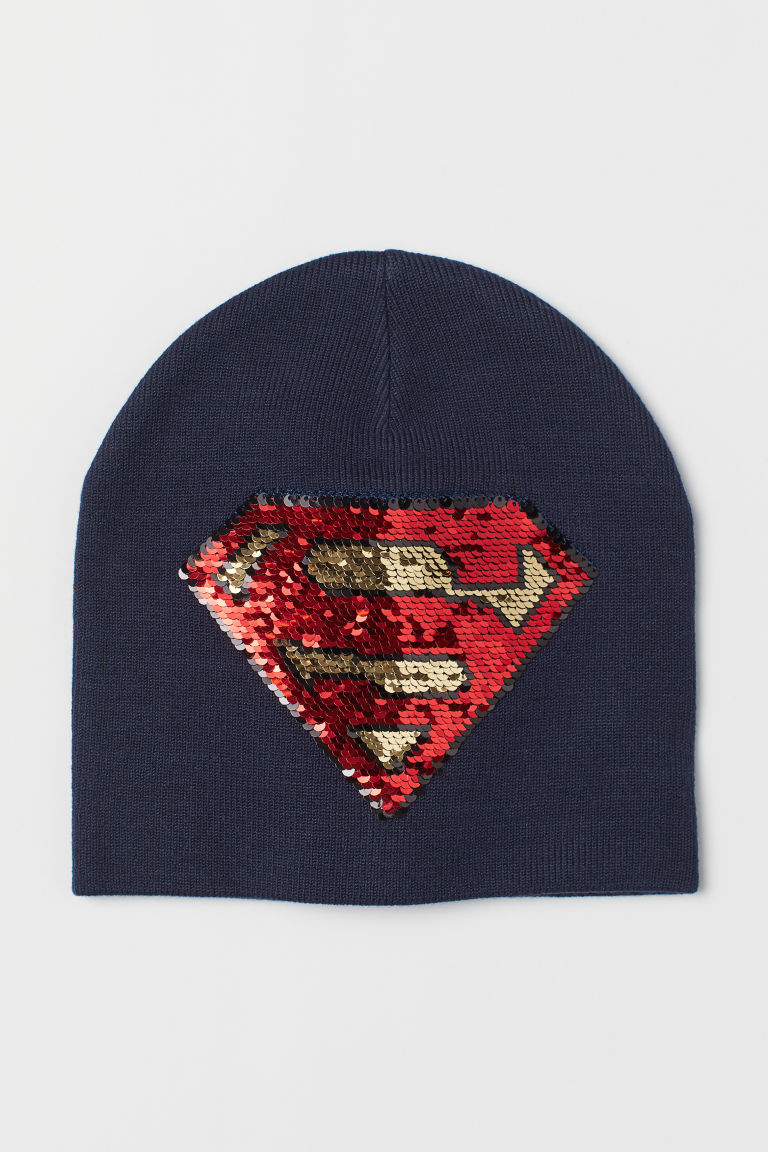 Hat with reversible sequins - Dark Blue/Superman - Kids | H&M