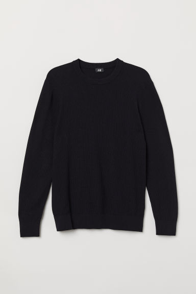 Knitted cotton jumper - Dark blue - Men | H&M