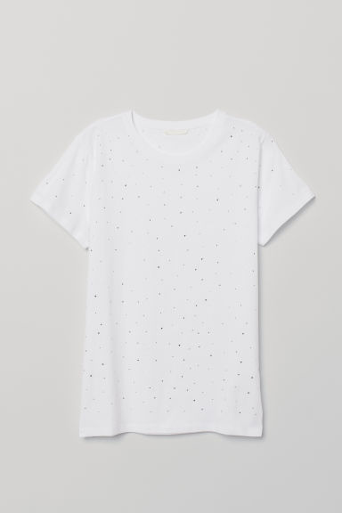 T-shirt - White/Sparkly stones - Ladies | H&M