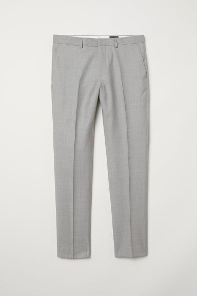 Wool suit trousers Slim fit - Light grey -  | H&M CN