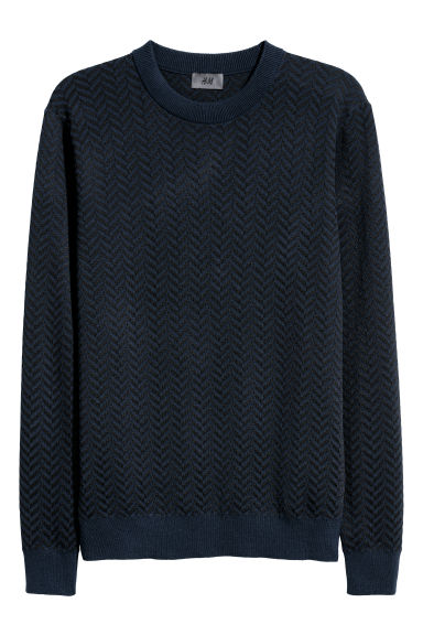 Jacquard-knit jumper - Dark blue/Black - Men | H&M