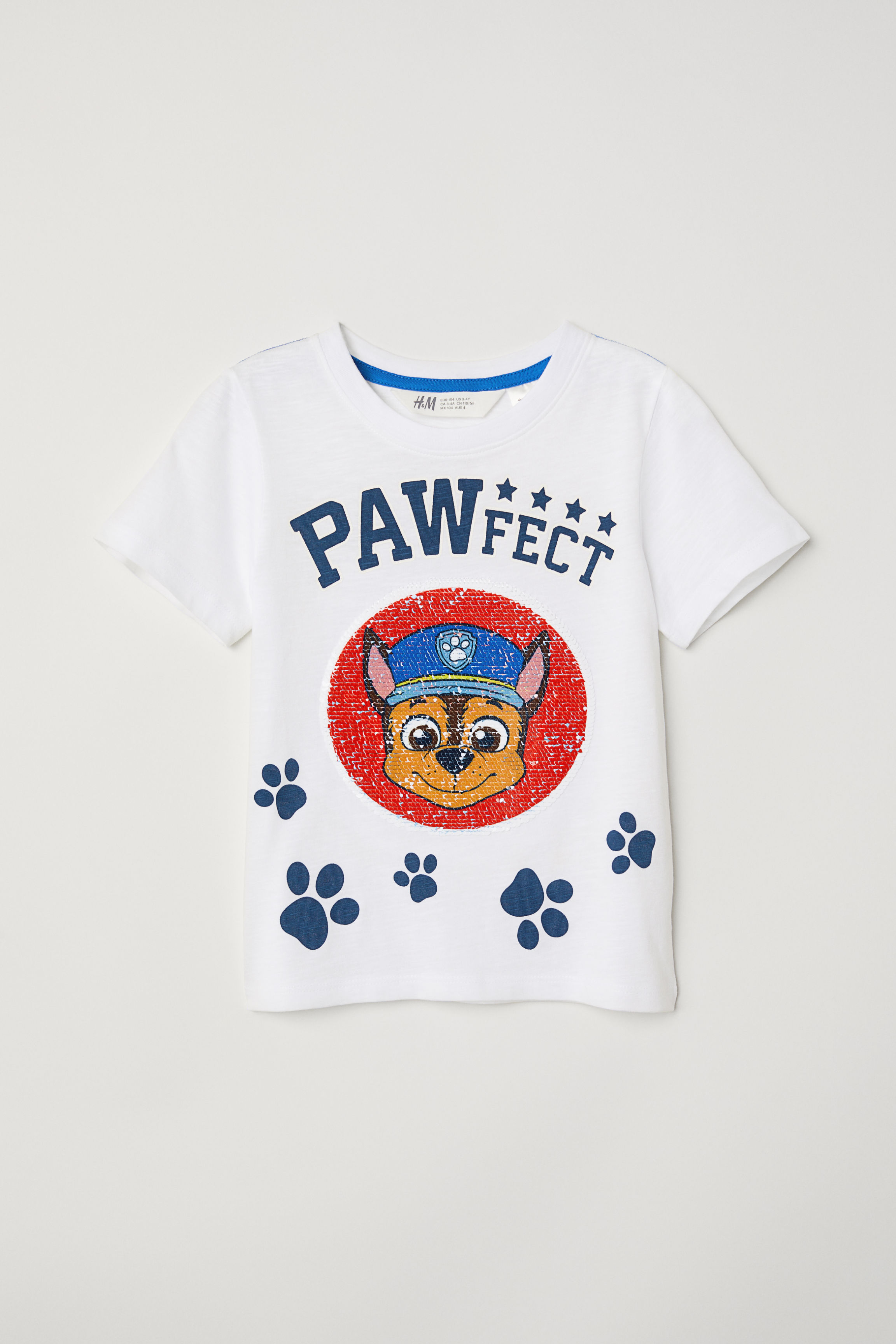 Reversible Sequin T-shirt - White/Paw Patrol - Kids | H&M US