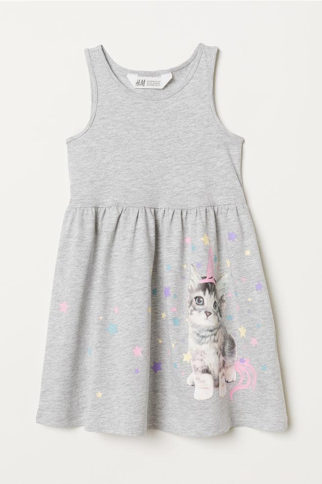 b0202694f2855c Mouwloze tricot jurk - Lichtgrijs gemêleerd kitten - KINDEREN