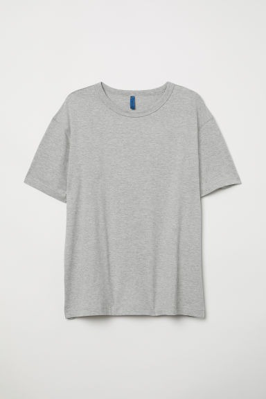 Cotton T-shirt - Grey marl - Men | H&M